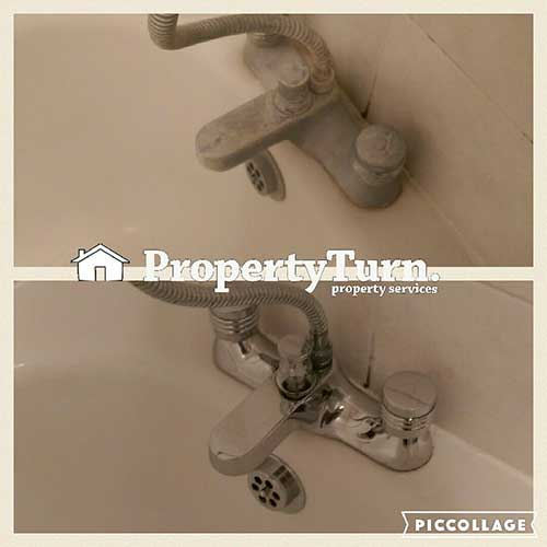 End of tenancy cleaning descaling bathroom taps