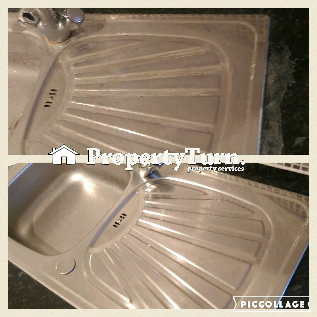 End of tenancy cleaning kitchen sink descaling